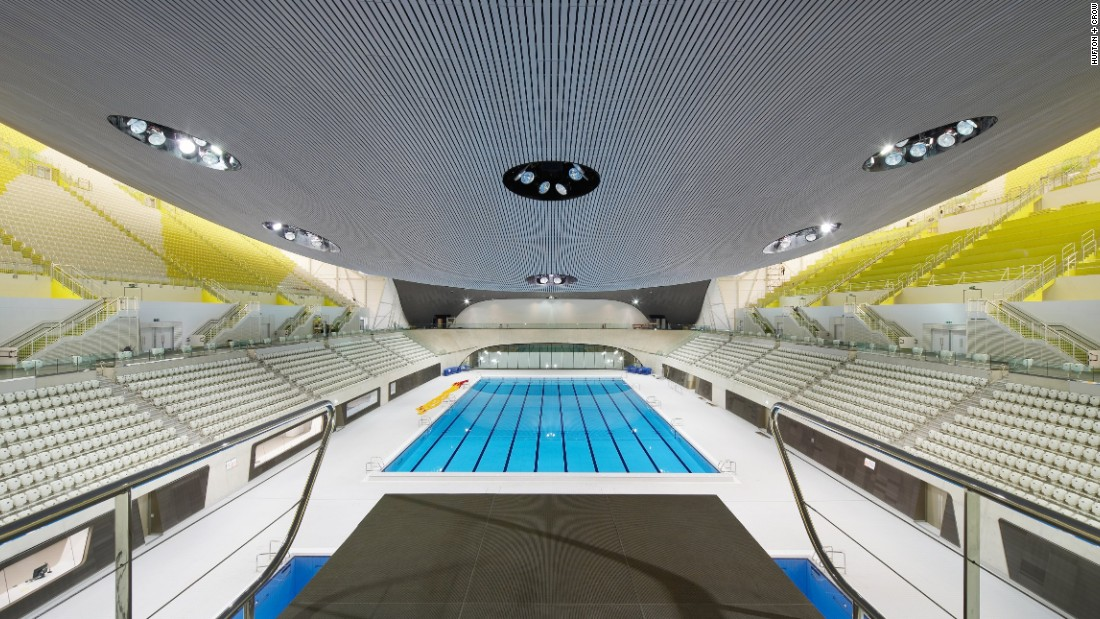 The design incorporates energy efficient elements, such as a cooling system that converts rejected heat into a heating agent for pool water. The structure is built primarily using replacement materials such as recycled concrete. Natural light pours throughout the main pool hall.
