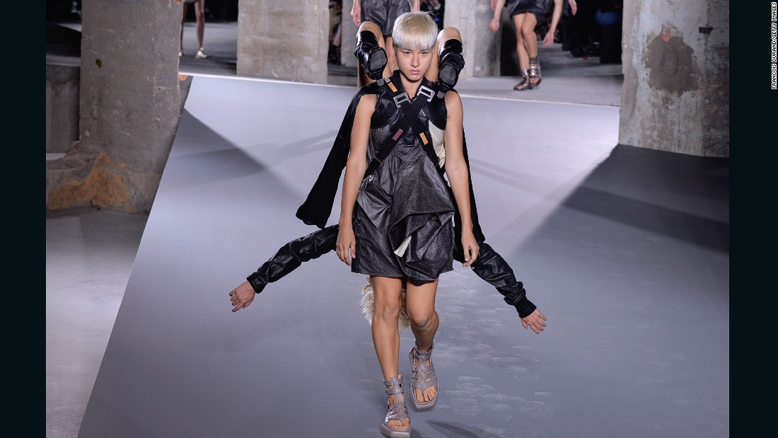 What would Paris be without a stunt from Rick Owens? This time, models wore other models as what must be the most uncomfortable accessories ever. Props to the girls doing the heavy lifting.