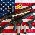 gun american flag illustration