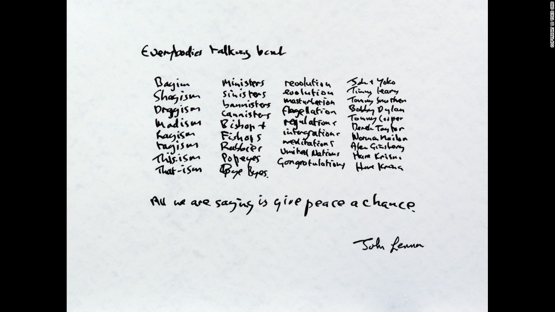 "John and Yoko got married on March 20, 1969. Two months later, they spent a honeymoon week in Montreal doing a ""bed-in"" for peace. While receiving visitors at the hotel, Lennon started putting his feelings into words. The lyrics, listed above, became ""Give Peace a Chance."" The song was recorded live in the Montreal hotel room on June 1, 1969."