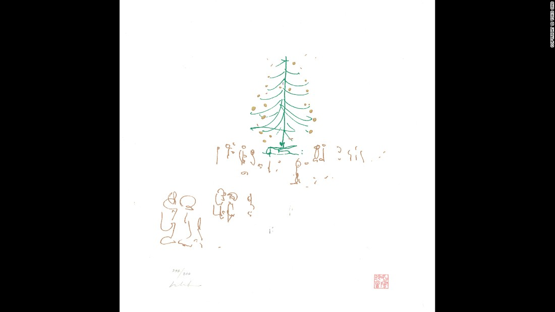 "Lennon's song ""Happy Xmas (War Is Over)"" has been a holiday staple since 1971. The song's peace-loving message is as timeless as this sketch of a tree surrounded by visitors: ""War is over if you want it."""