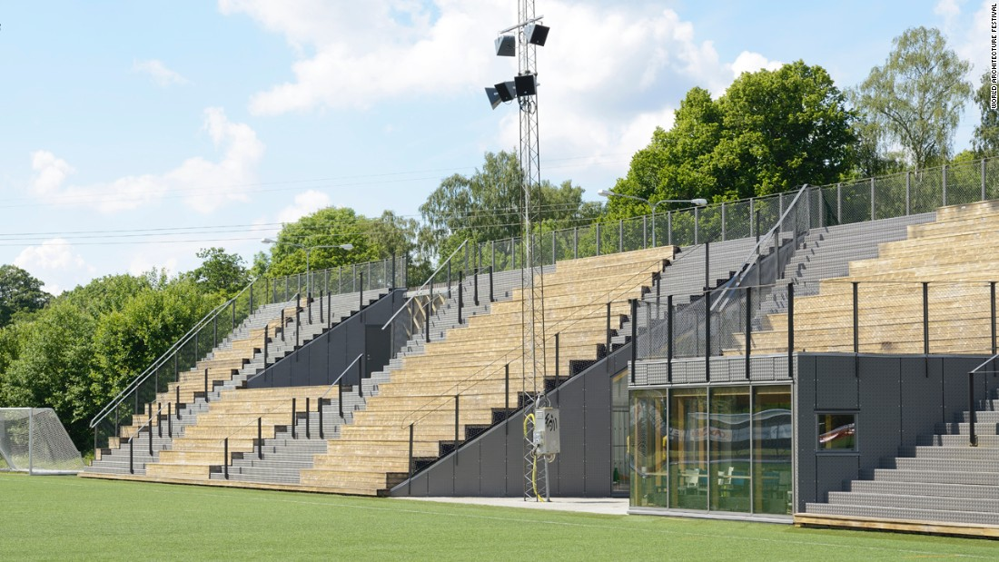 The redevelopment of this facility was an initiative taken on by the IFC Lidingö Football club. The challenge of architects was to create an advanced and well-functioning sports center with limited budget means. Innovative multipurpose design concepts -- such as seating stands that double as a roof over a coffee shop, were employed.