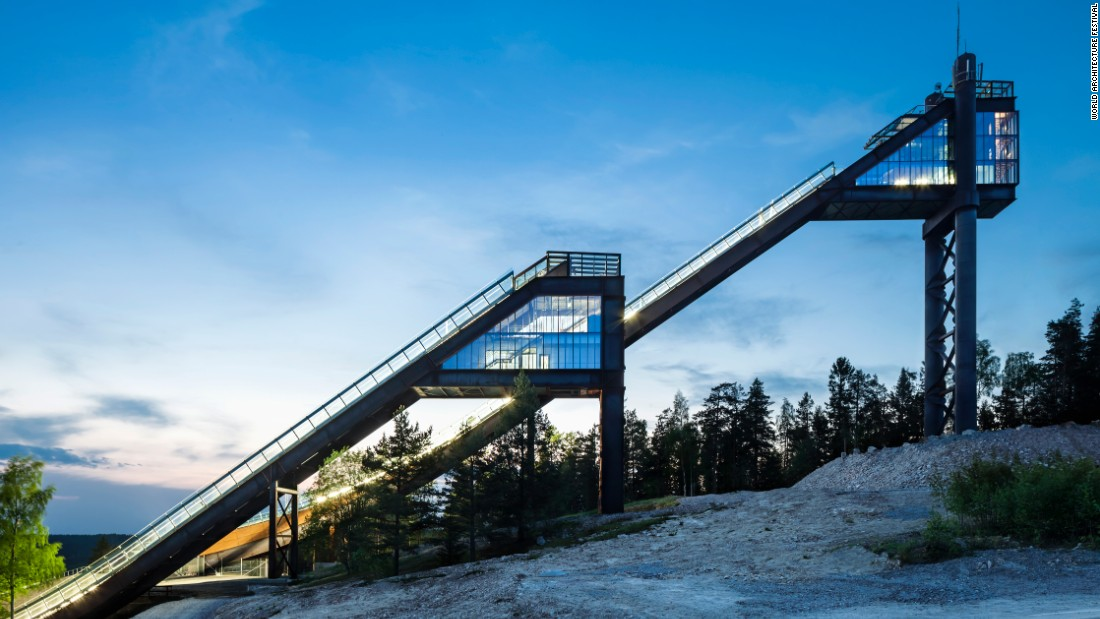 The Lugnet ski jumps in were renovated for the 2015 FIS Alpine World Ski Championships. The jump itself was first built in the 1970s. Sweco Architects modernized the jump to both suit athletic competitions and also function as a tourist attraction during other times of the year. The jump maintains its original silhouette with modern accents -- glass, concrete and galvanized steel.