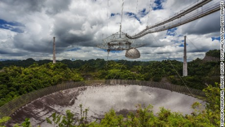 The current largest single-dish radio telescope, the Arecibo Observatory, Arecibo, Puerto Rico.