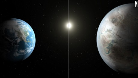 A side-by-side comparison of Kepler 452-b and Earth (artist's conception).