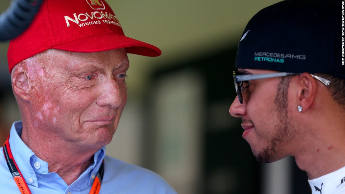 That's my boy! Austrian racing hero Niki Lauda is delighted with Lewis Hamilton's driving this season. The Briton is now within sight of equaling Lauda's three world titles. Lauda persuaded Hamilton to quit McLaren for Mercedes in 2013.