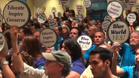 "Supporters of the SeaWorld project carried signs reading ""Blue World Yes!"""