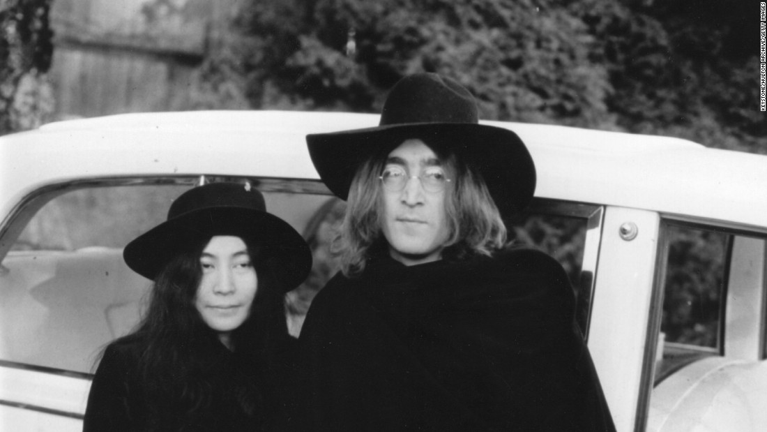 """Well Well Well."" Lennon and Ono are out of bed but the hair remains, alongside some impressive headwear, circa 1970."