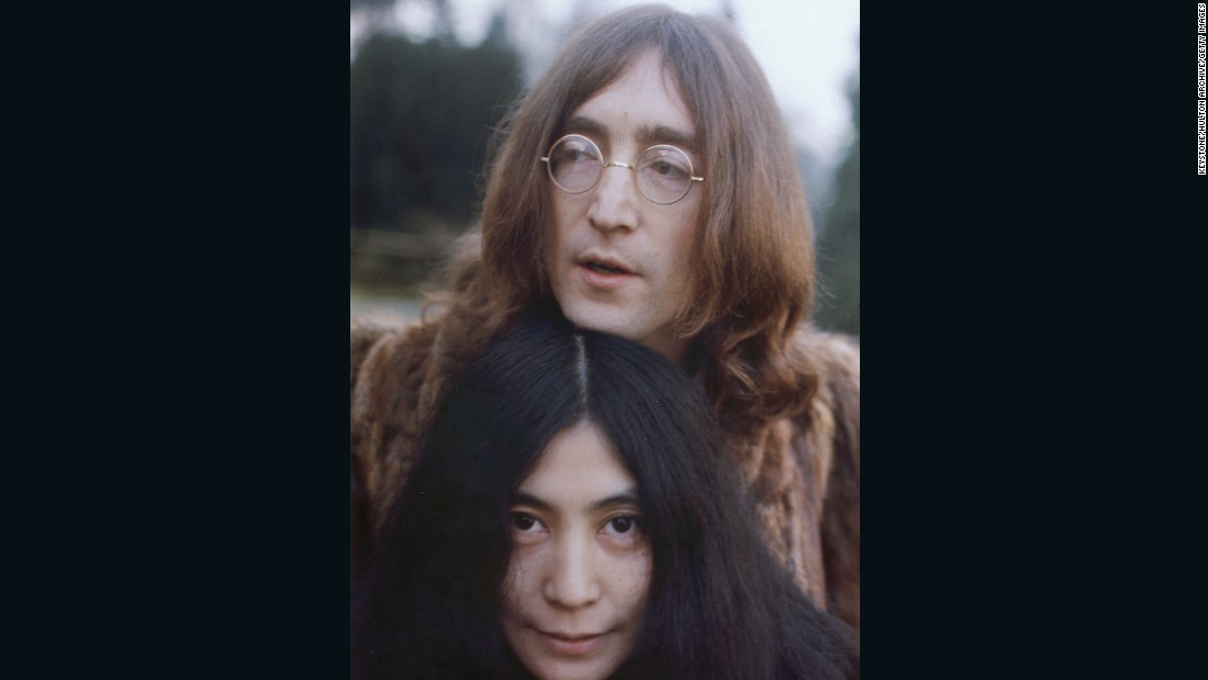 """Dear Yoko."" The spectacles remain, but Lennon is distinctly more relaxed come 1968, fully embracing the hippy look, with long hair and a shaggy fur coat."