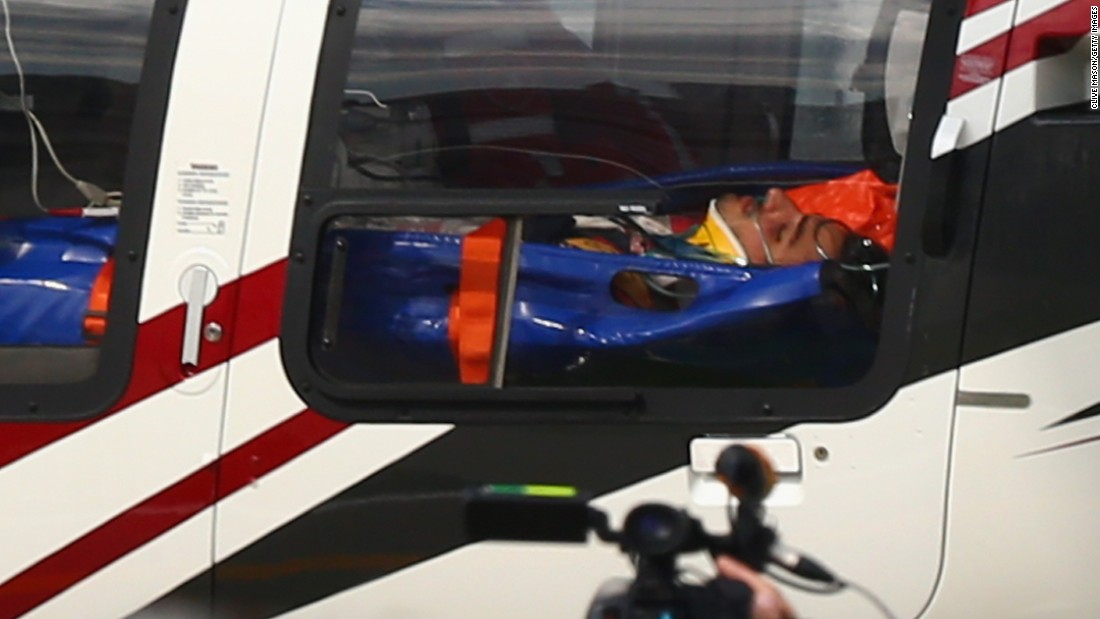 Sainz is airlifted to hospital in a helicopter after he crashed during final practice for the F1 Grand Prix at Sochi in Russia.