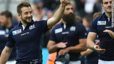 A thumbs up for captain Greig Laidlaw after his match winning performance for Scotland against Samoa to seal a RWC last eight place.