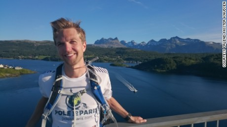 Erlend Moster Knudsen, a 29-year-old scientist, is running from Arctic Norway to a U.N. climate meeting in Paris to try to raise awareness about climate change.