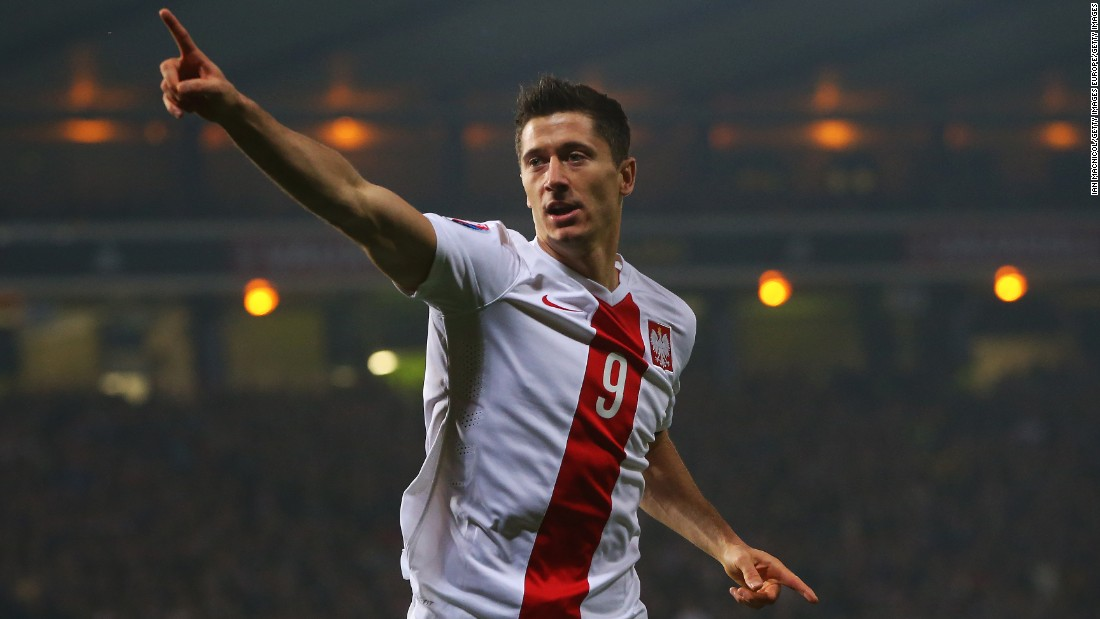Lewandowski needs just over two minutes to add to his tally in the Euro 2016 qualifier against Scotland. He scrambled in his second of the night in the last minute to help Poland secure a vital 2-2 draw in Glasgow. Remarkably, his 13 goals in Euro 2016 qualifying were more than the total managed by 29 competing countries, and equaled David Healy's record.