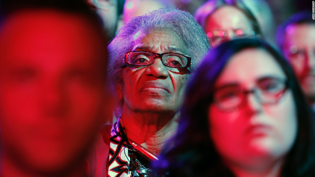An audience member watches the debate, which was the first Democratic debate of this election cycle.