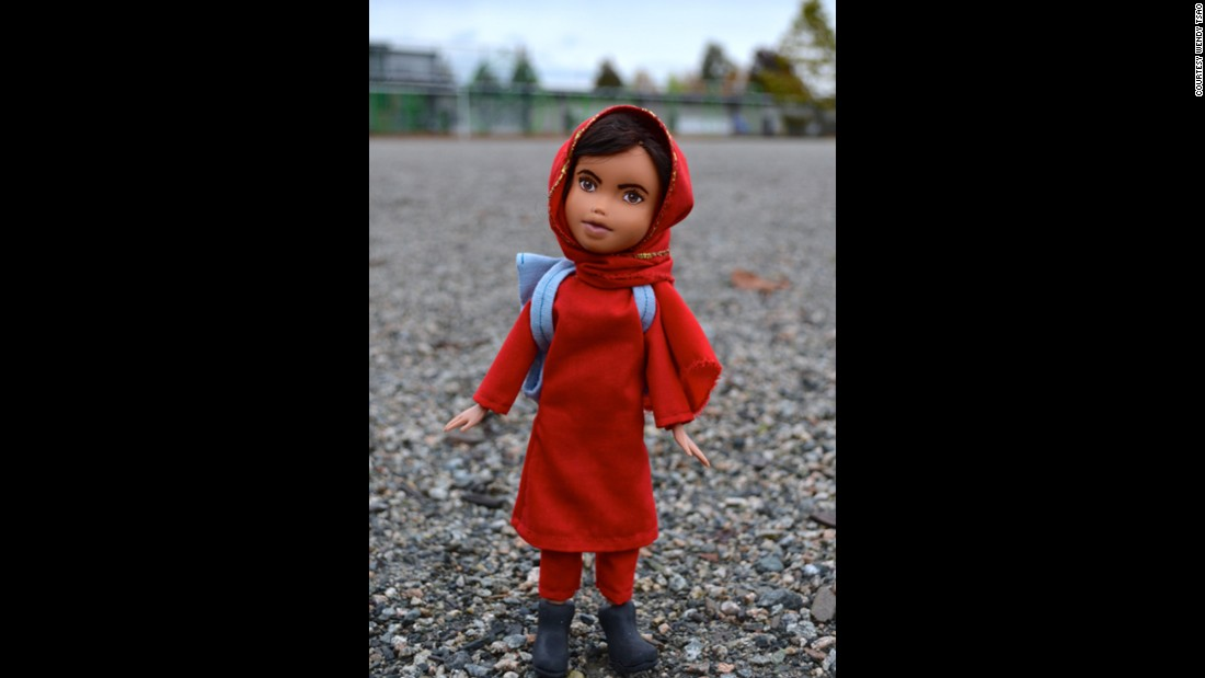 "Vancouver artist Wendy Tsao's ""Mighty Doll"" project takes Bratz dolls -- the figures known for their garish makeup, high fashion and heels -- and turns them into women or girls she wants children to admire. This doll was remade into Malala, the Nobel-prize-winning teen activist."