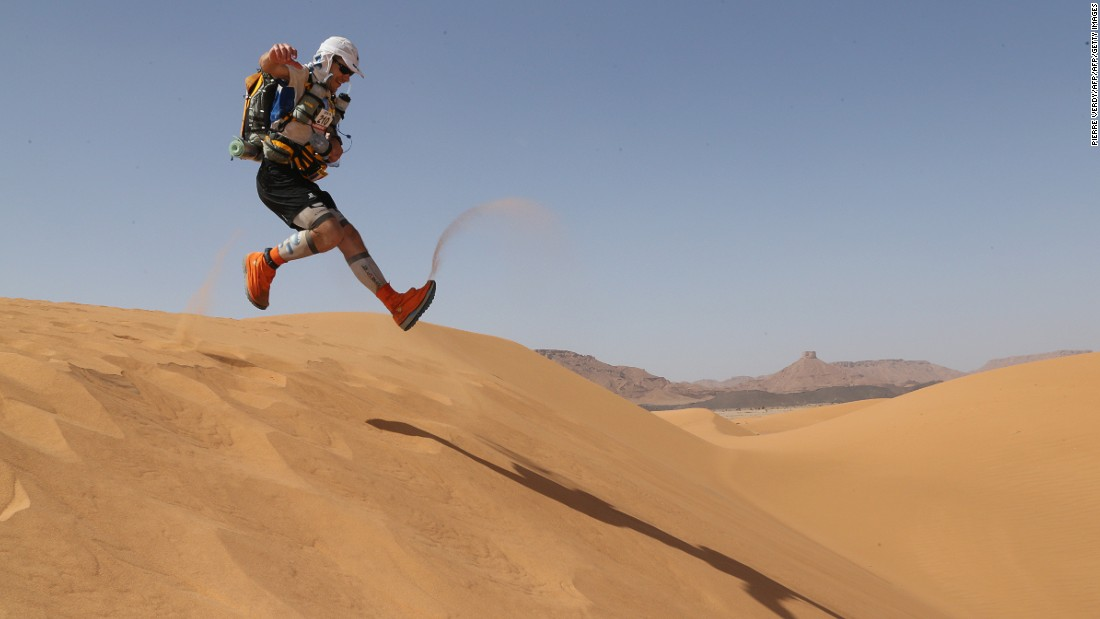 "One of the world's best-known endurance races, the <a href=""http://edition.cnn.com/2013/04/09/world/africa/marathon-des-sables-sahara/index.html"">Marathon des Sables</a> pushes runners to the limit in the Moroccan Sahara. In 2017 the 32nd race was 160 miles long. Runners are supplied with only water and a tent for the multi-stage event, and must endure freezing nights in the desert. The equivalent of five and a half marathons, 20% of which is run over sand dunes, the <a href=""http://marathondessables.co.uk/what-to-expect/"" target=""_blank"">race organizers are quite happy to stress its difficulty</a>. The meek need not apply."