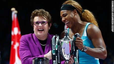 SINGAPORE - OCTOBER 26:  Serena Williams of USA shares a joke with Billie Jean King after her win over Simona Halep of Romania in the final during day seven of the BNP Paribas WTA Finals tennis at the Singapore Sports Hub on October 26, 2014 in Singapore.  (Photo by Julian Finney/Getty Images)