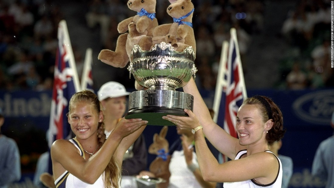Kournikova and Hingis won their first grand slam doubles title at the 1999 Australian Open in Melbourne.
