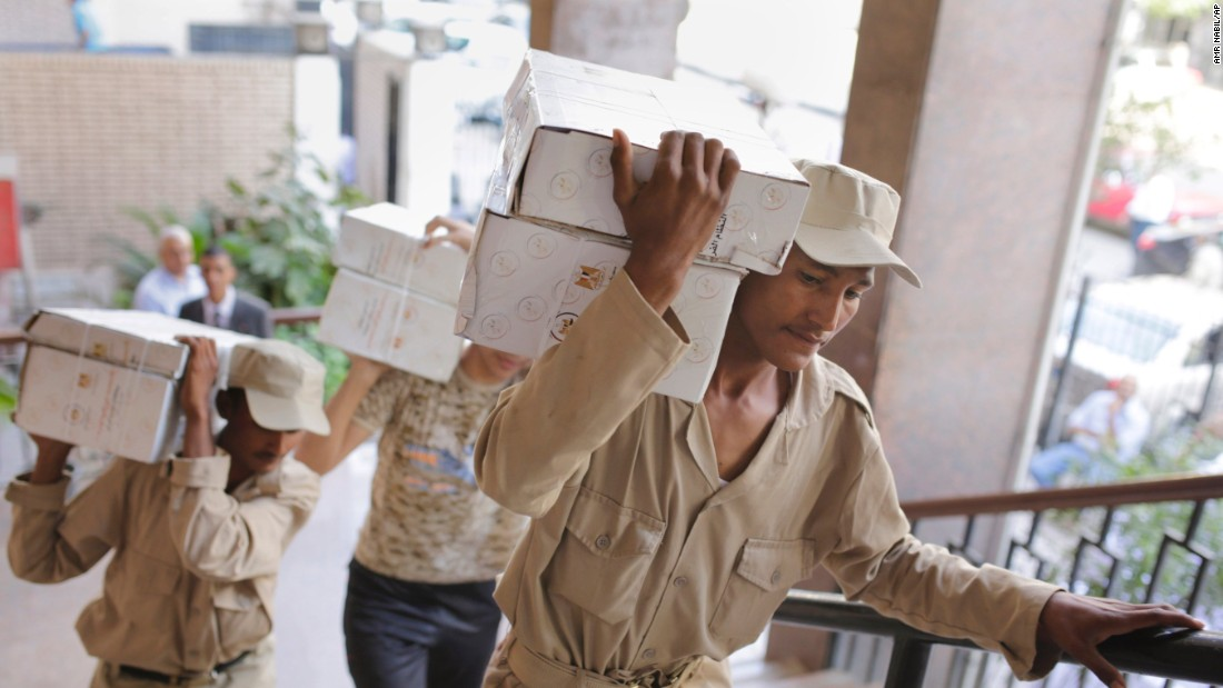 Egyptian soldiers distributed boxes of ballots to polling stations around the country, including to the the Giza courthouse in Cairo.