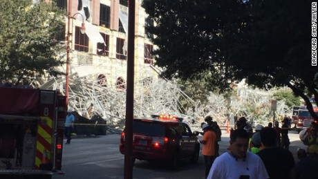 The scaffolding collapsed not far from Minute Maid Park.