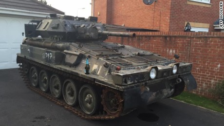 Jeff Woolmer's ex-army tank safely parked in his new driveway