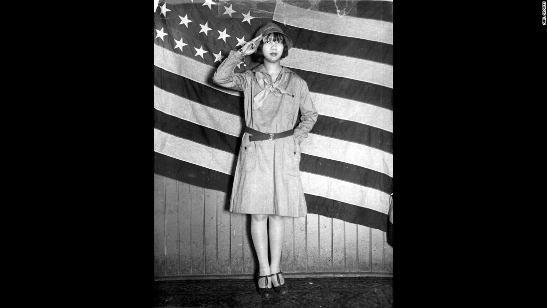 <strong>1930s: </strong>Girl Scout Jeanne Moy of Chicago is shown around 1930. The Girl Scout troops tended to reflect the waves of immigration to the United States, even printing Girl Scout information in other languages, including Polish, Yiddish and Italian.