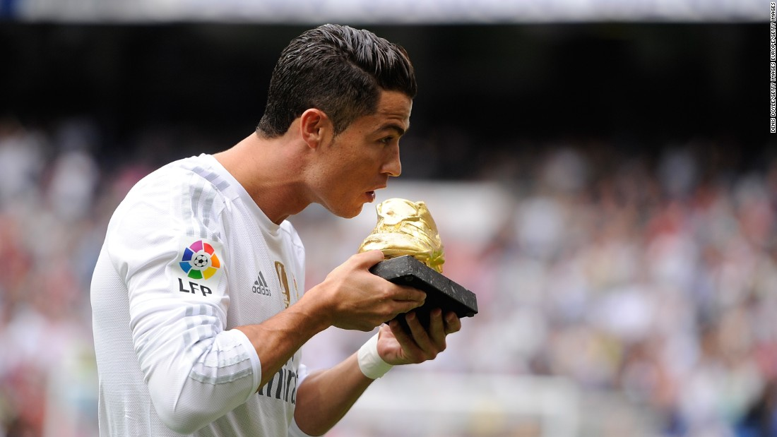 <strong>October 17, 2015:</strong> Cristiano Ronaldo poses with his Golden Shoe award for the 2014/15 season prior to the La Liga match between Real Madrid  Levante at the Santiago Bernabeu stadium. The golden shoe is the annual award given to Europe's leading goalscorer.