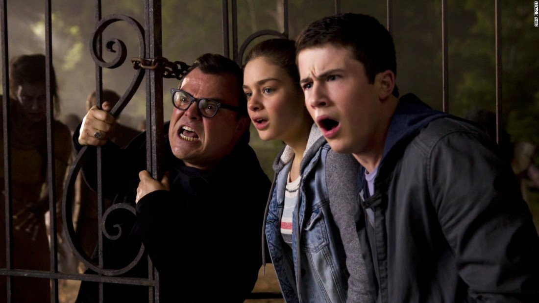 "<strong>""Goosebumps""</strong>: Jack Black, left, stars as author R.L. Stine in a movie inspired by his popular young adult novel series."