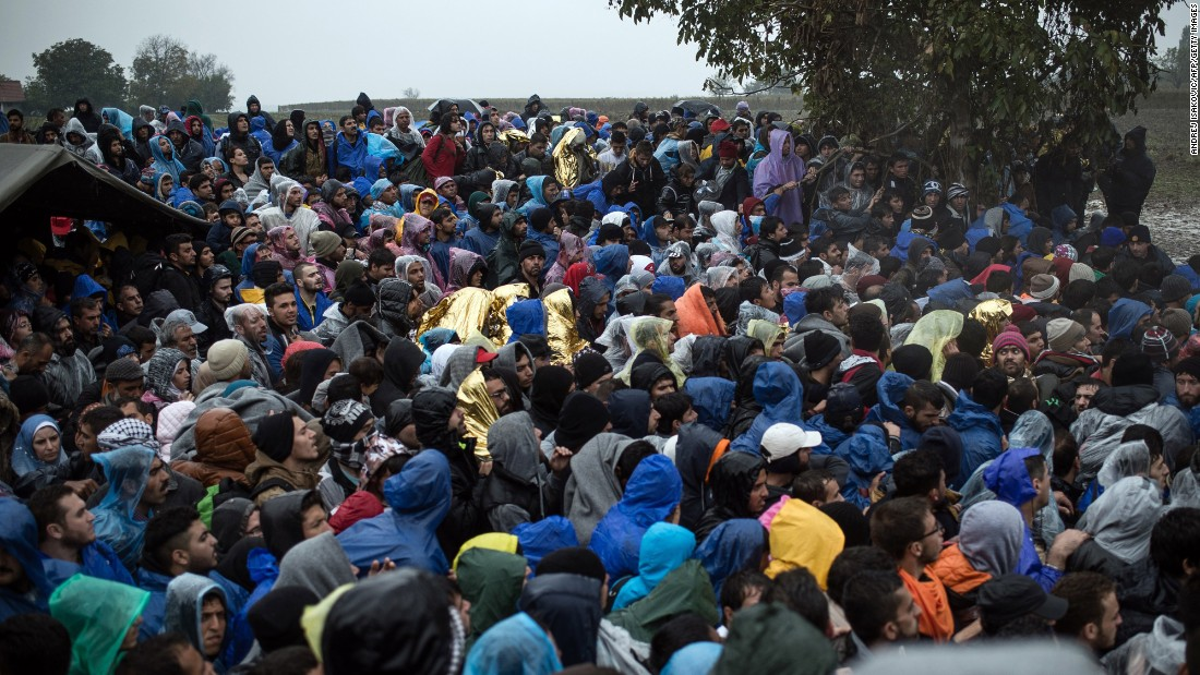 "Migrants in Berkasovo waiting to enter Croatia on Monday. ""We have families, pregnant women, small babies, the elderly, three generations of families, an old woman in a wheel chair,"" said Melita Sunjic of the U.N. refugee agency."