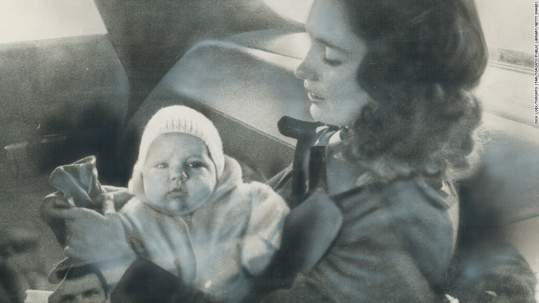The future politician sits in the lap of his mother, Margaret Trudeau, in a car in 1972. He was born in Ottawa on December 25, 1971.