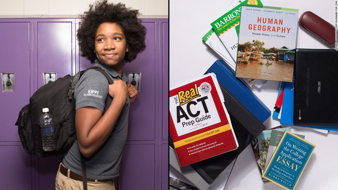 Elijah, an 11th-grade student at KIPP Atlanta Collegiate, said he never uses his locker. He prefers to keep books for his Advanced Placement and honors courses with him in case he has a few minutes to get some homework done while he's still at school.
