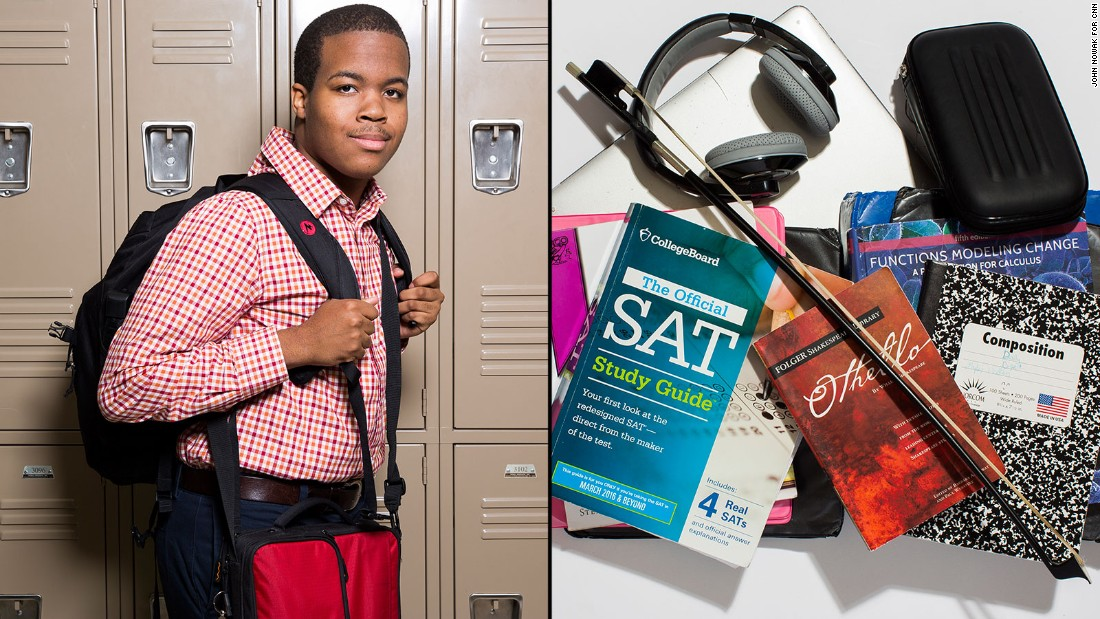 Myles, an 11th-grade student at Westminster Upper School, said he stopped carrying his cello home most days and stopped carrying his computer in order to lighten his load. Still, he has to carry his history book all the time -- there's reading to do every night.