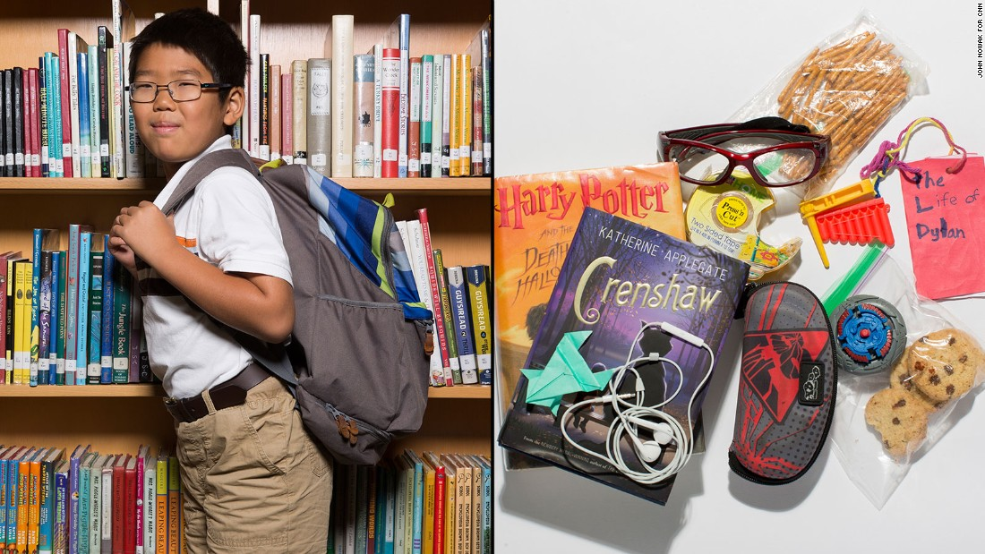 "Dylan, a third-grade student at Westminster Lower School, said he wants to stop carrying his heavy ""Harry Potter"" book, but he liked having double-sided tape on hand in case he wants to build something."