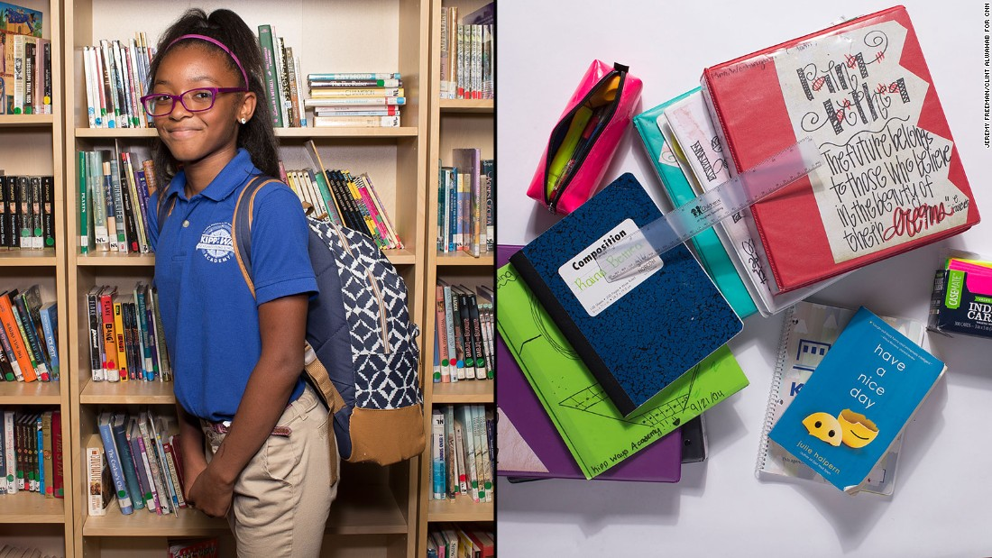 Raina, a sixth-grade student at KIPP WAYS Academy, said she wished she could leave her binders behind, but she takes them home so she can study more.<strong> </strong>