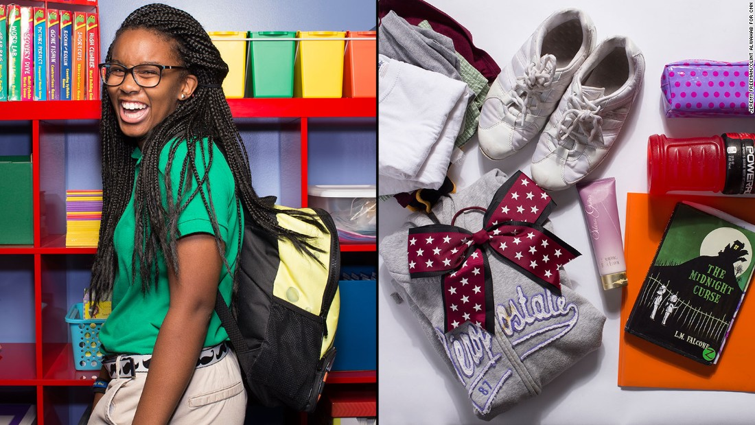 "Aaliyah, a seventh-grade student at KIPP STRIVE Academy, said her SpongeBob SquarePants backpack is ""perfectly fine,"" but she wishes she didn't have to carry her cheer practice clothing."