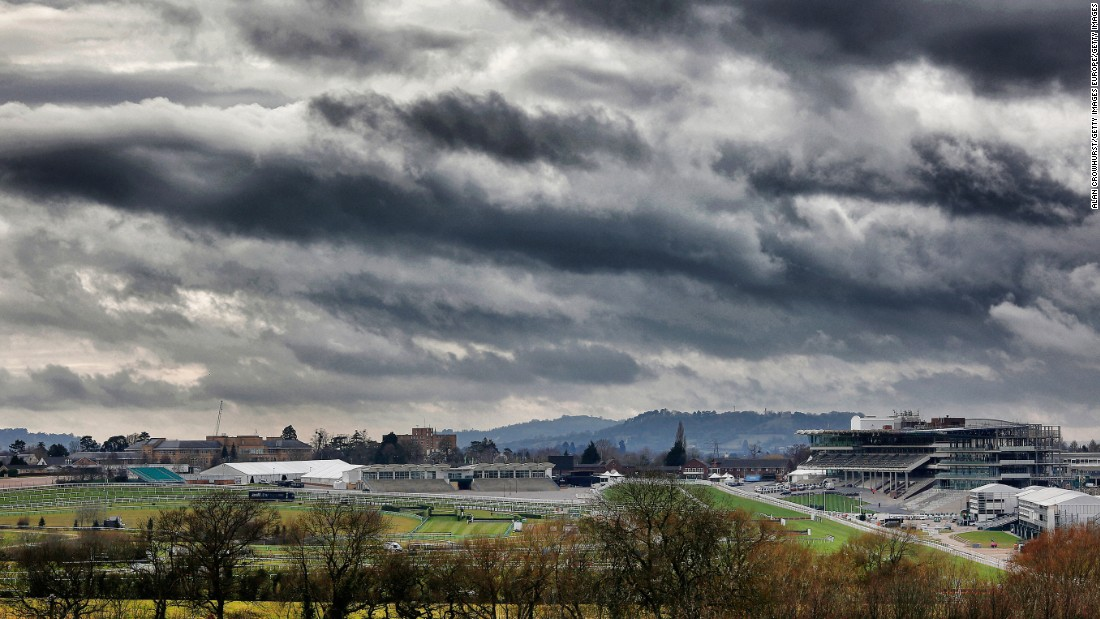 "A general view of the course at Cheltenham racecourse in March 2015. Dubbed jumping's answer to the ""Olympics,""  attendances peak at 70,000 on Gold Cup Day during the Festival."