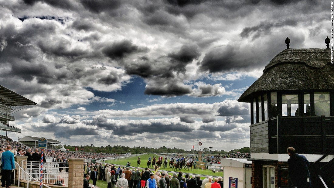 A general view as runners finish The 888sport Stakes at York racecourse in May 2015 in York. The course is located on the Knavesmire in the heart of the city and it's where highwayman Dick Turpin was hanged in 1739.