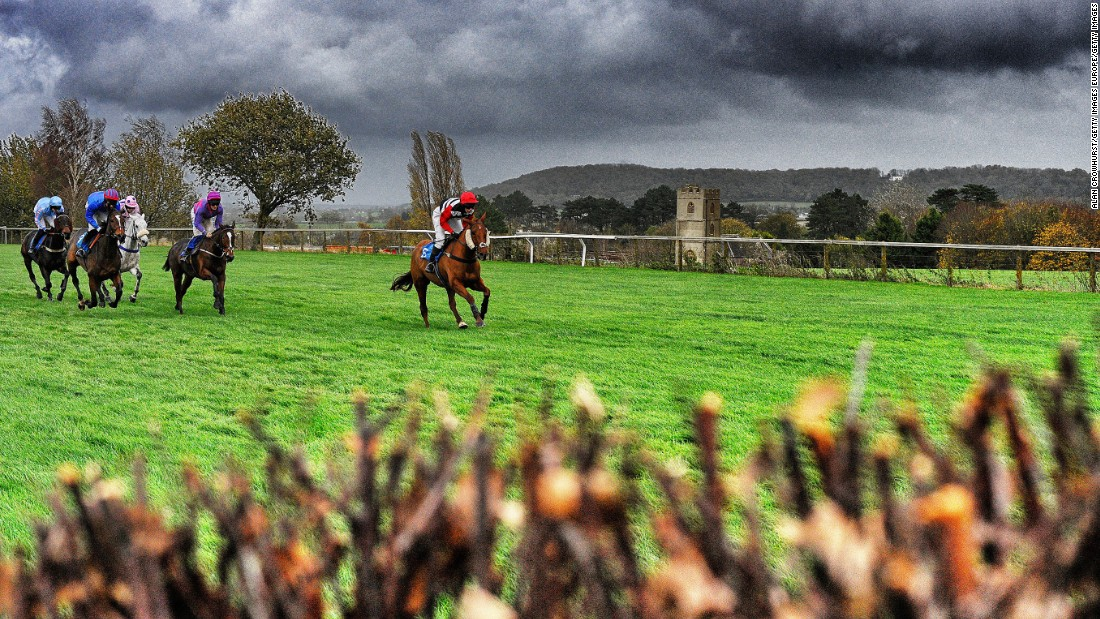 A general view as runners make their way down the back straight at Taunton racecourse, which is another one of Britain's countryside courses. Taunton offers outstanding views of the Blackdown Hills.