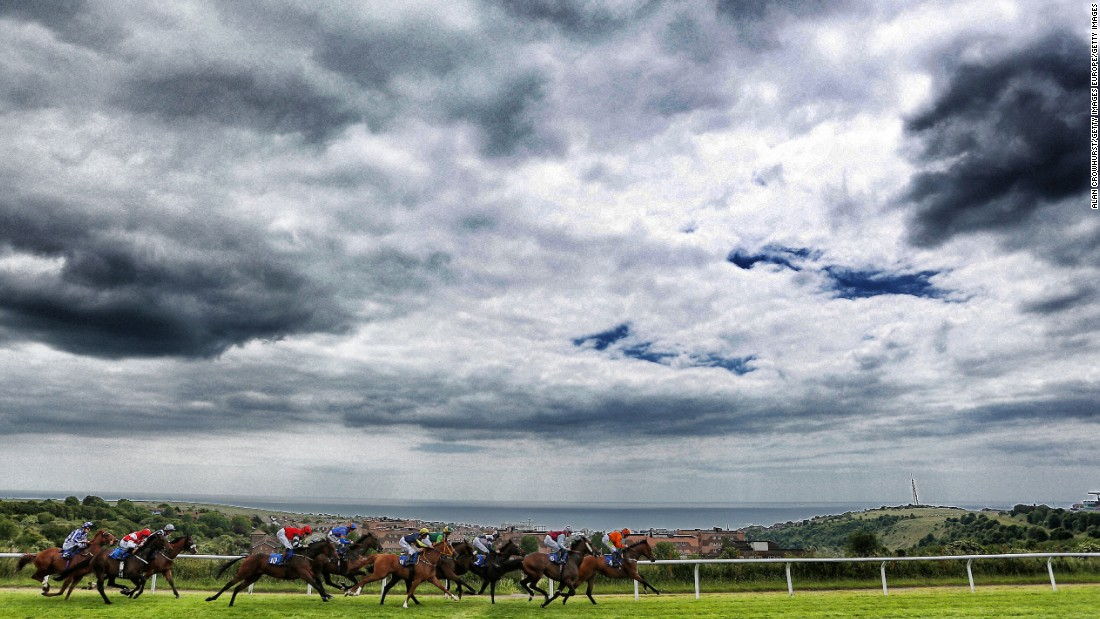 Its not just horses you get to watch at Brighton racecourse -- you also get to see the English Channel.