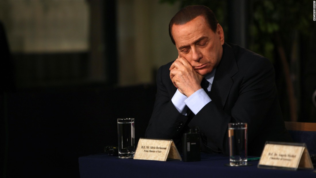 It seems there were few places that the former Italian Premier didn't see as potential nap spots. Here, Berlusconi rests his heavy eyelids at a press conference in Jerusalem in January 2009.
