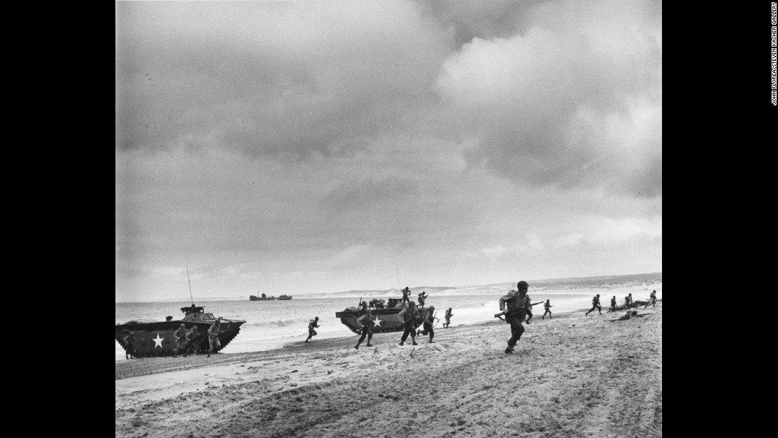 Troops land on the Normandy coast, circa July 18, 1944.