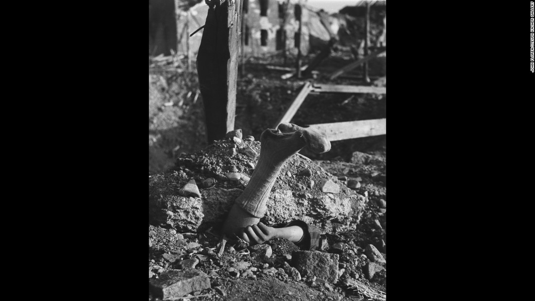 A body at the Mittelbau-Dora concentration camp in Nordhausen, Germany, in April 1945.