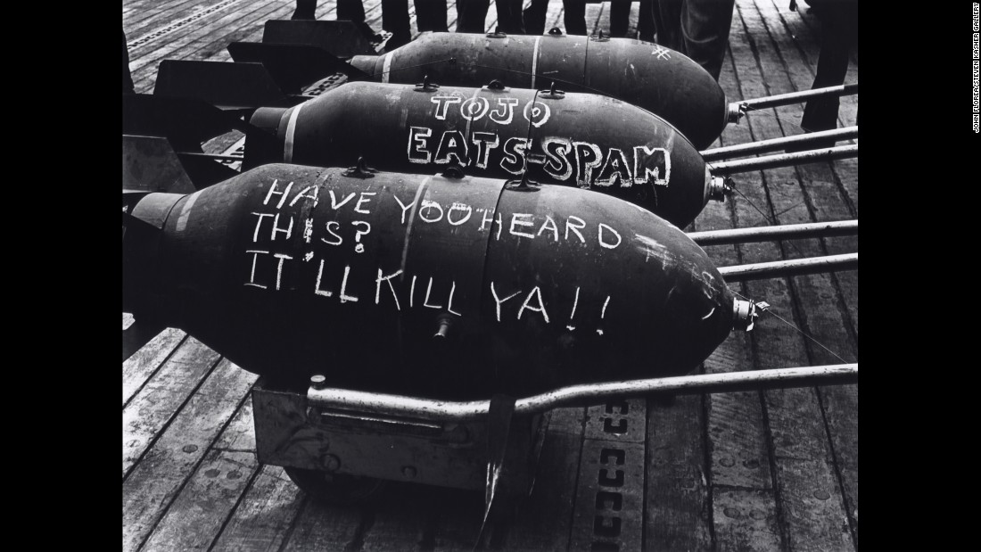 Bombs sit on the deck of a ship during the 1943 Tarawa Battle.