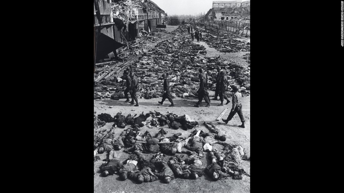 The bodies of almost 3,000 slave laborers are laid out along a bombed street before burial by U.S. troops in Nordhausen, Germany, on April 12, 1945.