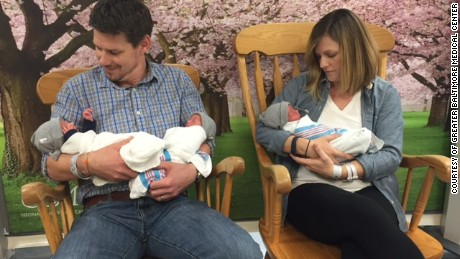 Kristen and Thomas Hewitt had identical triplets October 6 at the Greater Baltimore Medical Center.