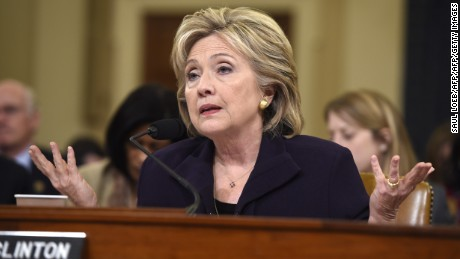 Former Secretary of State Hillary Clinton testifies before the House Select Committee on Benghazi on Capitol Hill on October 22, 2015.