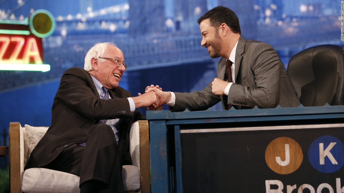 "U.S. Sen. Bernie Sanders, who is seeking the Democratic Party's nomination for President, <a href=""http://www.cnn.com/2015/10/22/politics/bernie-sanders-larry-david-impression/"" target=""_blank"">appears on Jimmy Kimmel's late-night show</a> in Brooklyn, New York, on Wednesday, October 21."