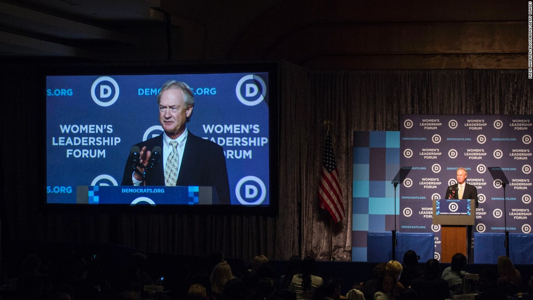 "Former Rhode Island Gov. Lincoln Chafee <a href=""http://www.cnn.com/2015/10/23/politics/lincoln-chafee-2016-election-dnc-meeting/"" target=""_blank"">ends his bid for President</a> while speaking at the Democratic Party's annual Women's Leadership Forum on Friday, October 23."