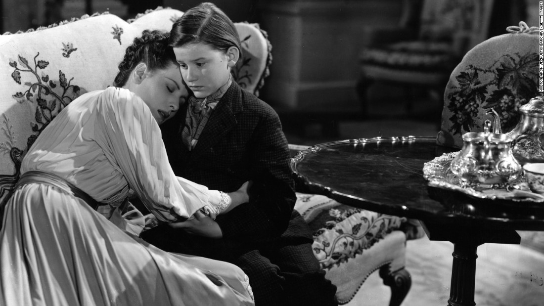 "Roddy McDowall appears with O'Hara in a scene from 1941's ""How Green Was My Valley.""  The film was directed by John Ford."
