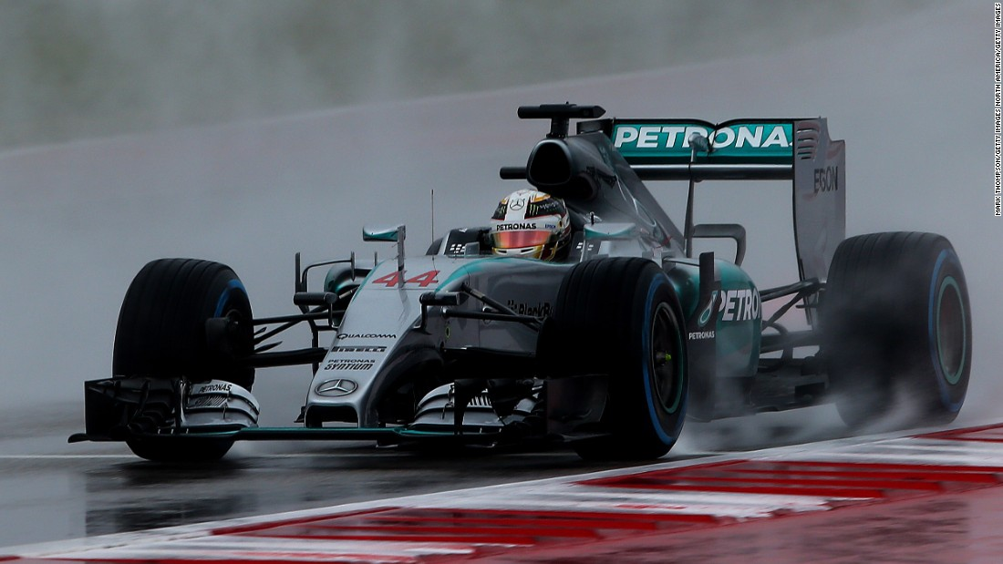 Hamilton braves the wet conditions at the Circuit of the Americas to post the fastest time in final practice for the U.S. Grand Prix.
